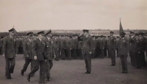 Colonel Austin O. Davis, Change of Command 32nd FIS, Fighter Interceptor Squadron Camp New Amsterdam on Soesterberg AFB The Netherlands, William R. Tyler, Seaborn P. Foster, Colonel A. J. Marinus, Baron Van Nagell, Mayor of Zeist, Mr. Stolk; F100 Wreck with TV Tower Smilde Holland; 1968 Loadeo Champion, RAF Lakenheath, Suffolk, England