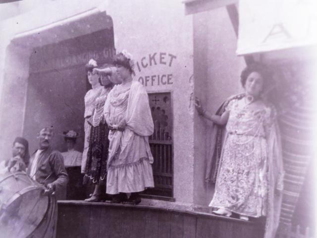1904 St. Louis Fair, Constantinople Turkish Attraction On Pike, Sign In Doorway Reads; Real Dancing Girls, Man With Large Drum Druming Up Attention