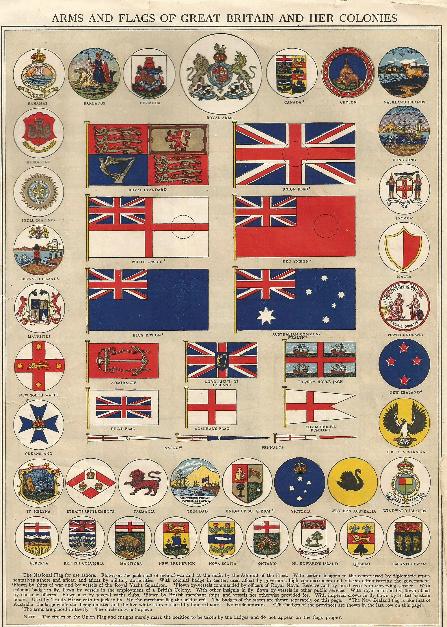 1914 arms and flags of great britain and her colonies including