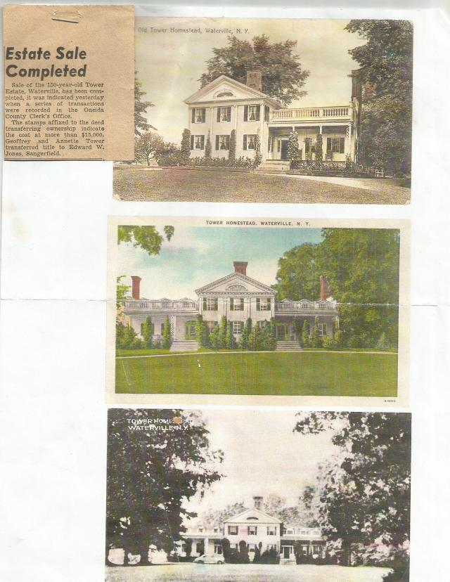 Tower Homestead, Waterville, NY, Historic Paper Pertaining To Property